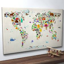 animals cute world maps wall art best supreme picture handmade high quality material wonderful