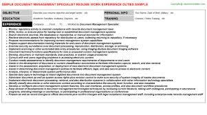 Sample Management Specialist Resume Document Management Specialist Resume Sample