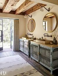 Rustic Bathroom With Exposed Wood Beams And Vintage Look Double