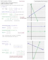 slopes of parallel and perpendicular lines worksheet answers free