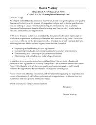 Best Quality Assurance Cover Letter Examples Livecareer
