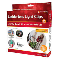Simple Living Solutions Light Clips 50ct String Light Ladderless Light Clips Hanging Set Clear