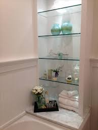 Bathroom:Wondeful Shelving Idea For Bathroom With Glass Shelves Also  Decorative Objects DIY Small Wall