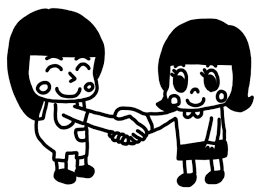 握手をする子どものイラスト 白黒ヤギさん フリー素材イラスト