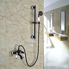 oil rubbed bronze shower head and handheld combo bathroom tub faucet solid brass hand held sprayer with slide bar mixer rain