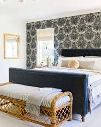 Wallpaper statement wall in bedroom. Farrow and Ball. Design by ...