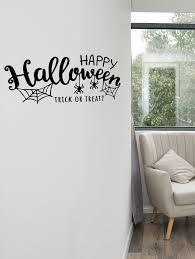 happy spider print wall art sticker black