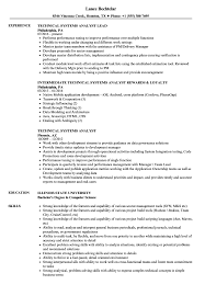 Technical Systems Analyst Resume Samples Velvet Jobs