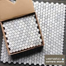carrara venato marble hexagon honed 1 mosaic tile