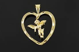 image 1 of 4 14k cherub angel dangle heart outline yellow gold