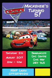 Lightning Mcqueen Birthday Party Personalised Lightning Mcqueen Cars 3 Birthday Party Invites
