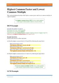 highest common factor and lowest multiple least worksheet 5th ...