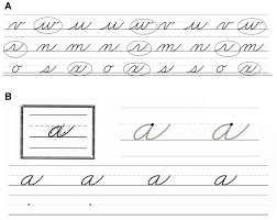 A) An example of the cursive letter pre-test: participants circle ...