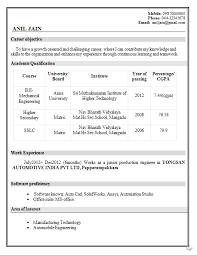 Dynamic Resume Mechanical Engineer Resume For Fresher