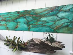 hanging wall decor project with metal effects patinas wood art by jennifer gibson floor and art featured in the modern masters blog on turquoise wood and metal wall art with hanging wall decor project with metal effects patinas wood art by