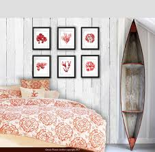 vintage seaweed wall decor prints