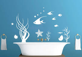 ocean decals for walls nautical motifs wall decals ocean undersea swimming fish interior decorating ideas bathroom