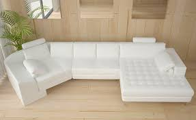 Best White Leather Sectional Chaise Sofa Stoney Within Modern Plan