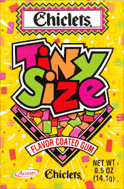 CHICLETS TINY SIZE FLAVOR COATED GUM - 20 - .5oz PACKS ...