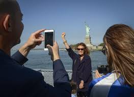 statue of liberty getting new m museum set to open in ny fashion designer diane von furstenberg center who helped raise the money for the statue of liberty museum poses for photos