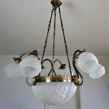 Große Jugendstil Deckenlampe Um 1920 Antik Kronleuchter Art