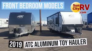 2019 atc aluminum toy hauler front bedroom units sun city rv phoenix atc dealer