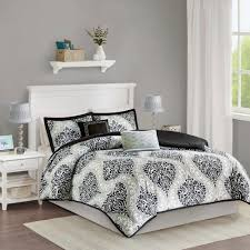 intelligent design sydney 4 piece black twin twin xl damask comforter set