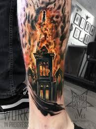 горящая церковь татуировка на ноге сделать тату у мастера вики