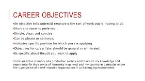 Objectives In Resume For Job Sample Career Objectives Examples For