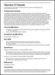 Sample Of Qualifications In Resumes Operator Cv Sample Myperfectcv
