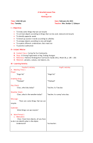 lesson plan template for kindergarten a detailed lesson plan in kinder