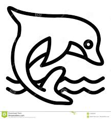 Dolphin Dream Designs Coloring Book Dolphin Line Icon Aquatic Mammal Vector Illustration