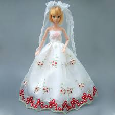 barbie doll. Full All Around Lace Dress For Barbie Doll White Wedding With Veil Gift Set