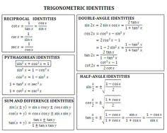 sparknotes precalculus trigonometric functions trigonometric pythagorean identities cheat sheet trig identities jpg