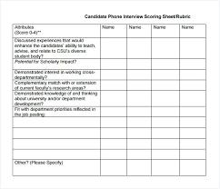 Candidate Phone Interview Scoring Sheet Rating Sample Performance ...