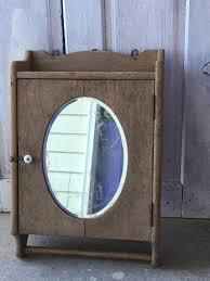 Antike Harte Holz Medizin Schrank Handtuch Rack Ovalen Spiegel Etsy