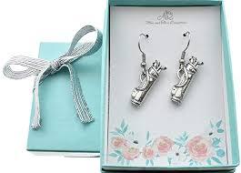 amazon golf bag earrings in antique silver pewter golf earrings golf gifts golf women golf jewelry handmade