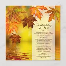 Autumn Dinner Menus Thanksgiving Dinner Menu Template With Fall Leaves Zazzle Com