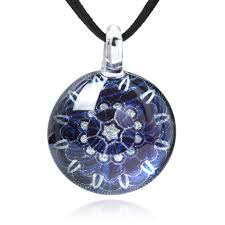 hand blown glass jewelry blue silver grey mandala flower round pendant necklace 17 19 leather cord