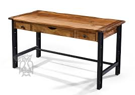 solid parota wood writing desk in natural finish with iron legs