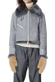image of the arrivals moya mini leather genuine shearling jacket