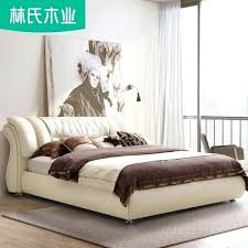 modern leather bed wood soft bed modern leather bed meters master bedroom double bed wedding post