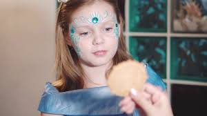 aqua makeup child with funny face painting um close up stock video fooe storyblocks video