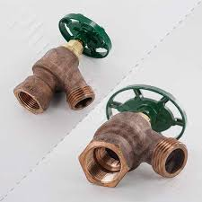 garden valve down with nested dual threads bent nose dual threaded