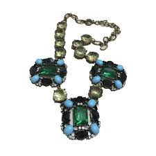 cirgen fashion brand vintage choker crystal chain big green stone pendants statement collar necklace women jewelry