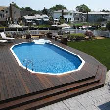 square above ground pool with deck. Relaxing Above Ground Pools With Decks For An Outdoor Party : Modern Wooden Pool Square Deck
