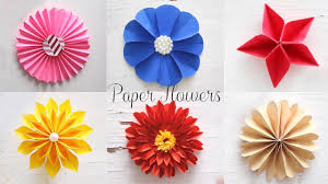 Easy Paper Flower 6 Easy Paper Flowers Flower Making Diy Youtube