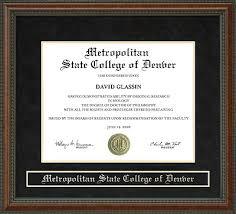 metropolitan state college of denver metro state diploma frame  metropolitan state college of denver metro state diploma frame