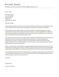 Simple Resume Cover Letter Mesmerizing Mechanic Cover Letter Sample Monster