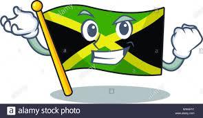 Flag Hoisting Pole Design Successful Cartoon Jamaica Flag Hoisted On Mascot Pole Stock